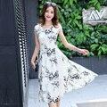 Colorida de las mujeres flor de la impresión floral de manga corta dress 2017 primavera verano casual de las señoras de bohemia loose o-neck dress