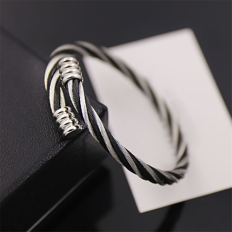 Free Shipping Burning goods free shipping punk stainless steel wire bracelets bangle for men 7 colors not fade Diameter 60 mm