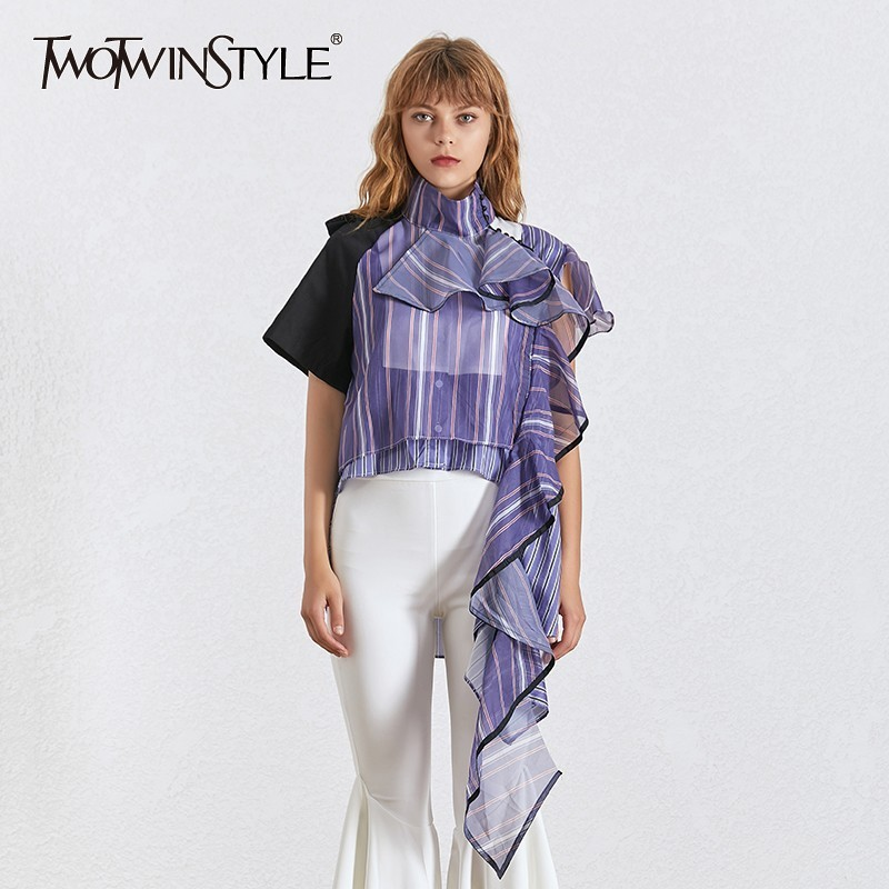 TWOTWINSTYLE Ruffles Striped Blouse For Women Stand Collar Short Sleeve Hit Color Asymmetrical Shirt Female Fashion 2019 Summer