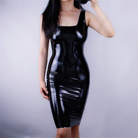 Patent Leather Dress Latex Leather Woman's Square Neck Tank Sleeveless High Elastic Bright Black Tight Hip Sexy Dresses VG01