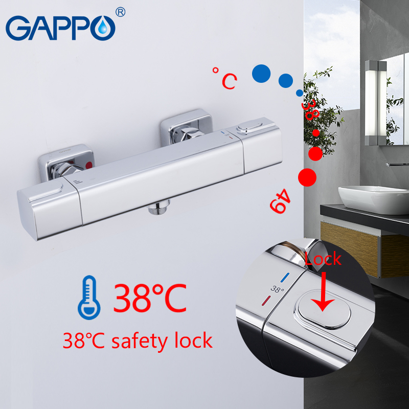 GAPPO Shower System Thermostatic Bath Shower Taps Waterfall Bathtub Mixer Tap Rainfall Shower Thermostat Tap Torneira