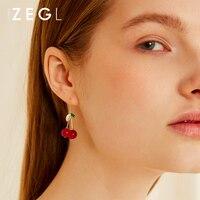 1a6d97f46120 ZEGL Red Cherry Earrings For Women Fashion Sweet Earrings. ZEGL rojo cereza  pendientes para las mujeres de ...