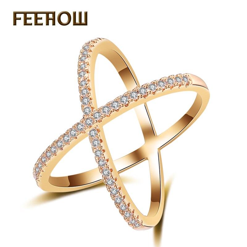 FEEHOW Fashion Cross Rings for Women Letter X Shape Ring ...