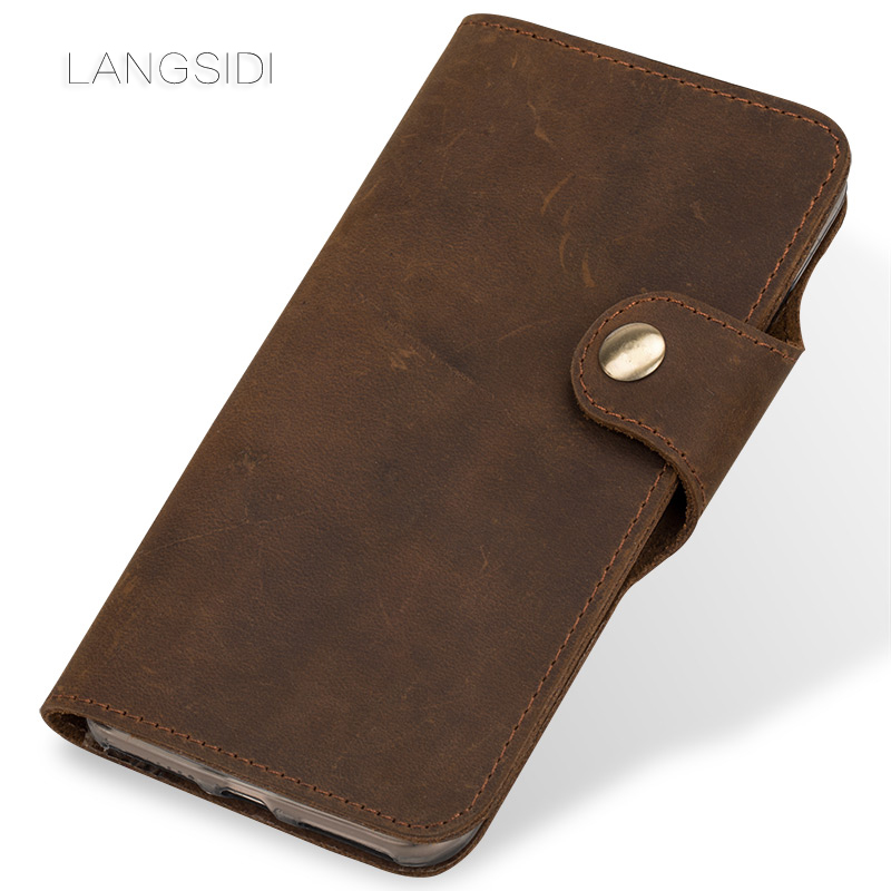 LANGSIDI brand mobile phone shell leather retro clamshell leather handphone shell for iPhone X Plus handmade handphone shell