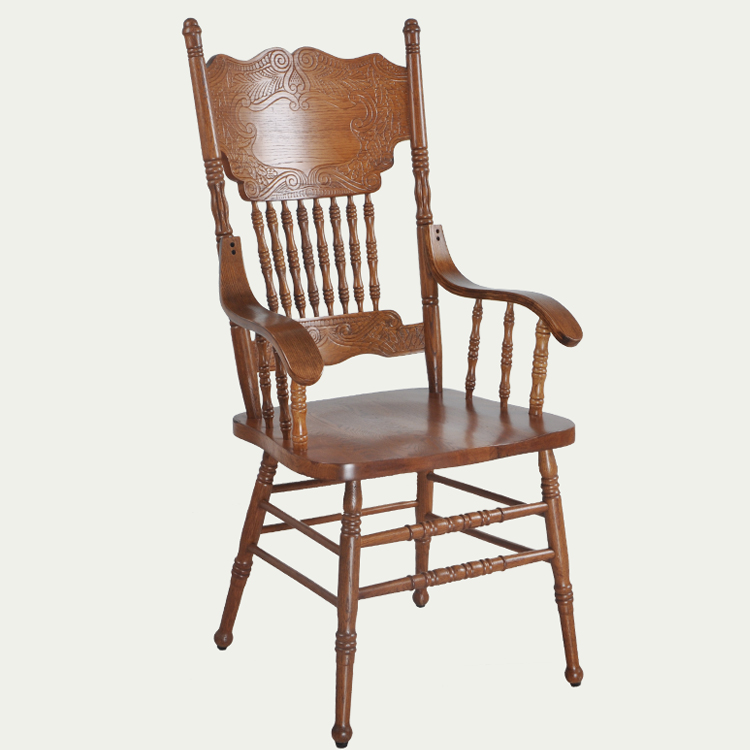 Armchair Wooden Luxury Home Furniture Oak Vintage Dining Chair Carved Back Room
