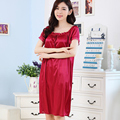 Ice silk plus size nightgowns solid color Classic Victorian Long Nightgowns