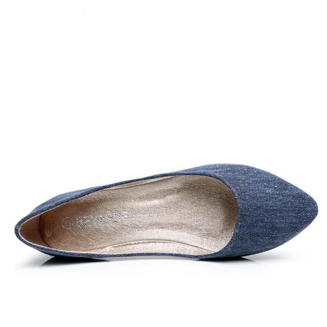 Online Shop BEYARNE New Women Soft Denim Flats Blue Fashion High Quality  Basic Pointy Toe Ballerina Ballet Flat Slip On Office Shoes  604a8f520c06
