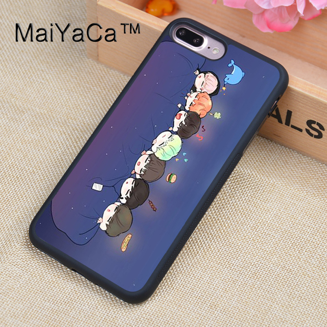 finest selection 1a776 22967 US $4.27 5% OFF|MaiYaCa Cute Bangtan Boys BTS Cartoon Soft Rubber Fitted  Cases For iPhone 8plus Cover OEM For Apple iPhone 8 plus Back Shell-in  Fitted ...