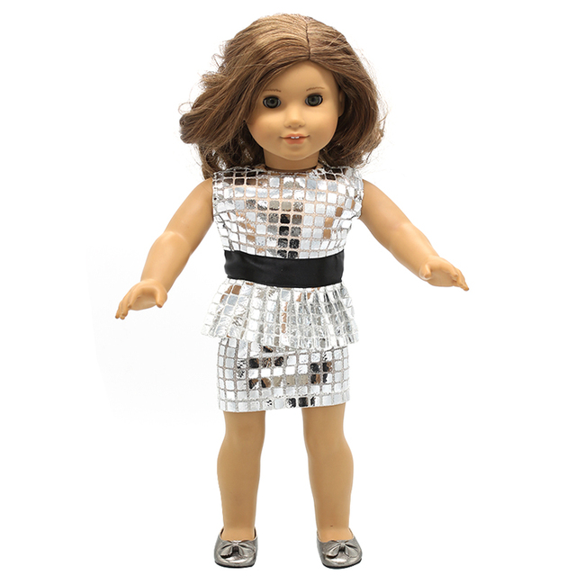 06d354a9ac60 Girl Doll Clothes Red Silver Sequined Short Dress for 16-18 inch Dolls Best  Gift