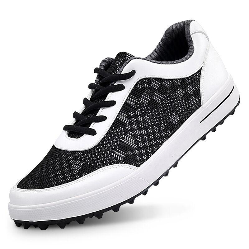New Men Golf Shoe Mesh Sport Lace-Up Walking Shoe Breathable Non-slip (Black White) adidas men s puremotion golf shoe
