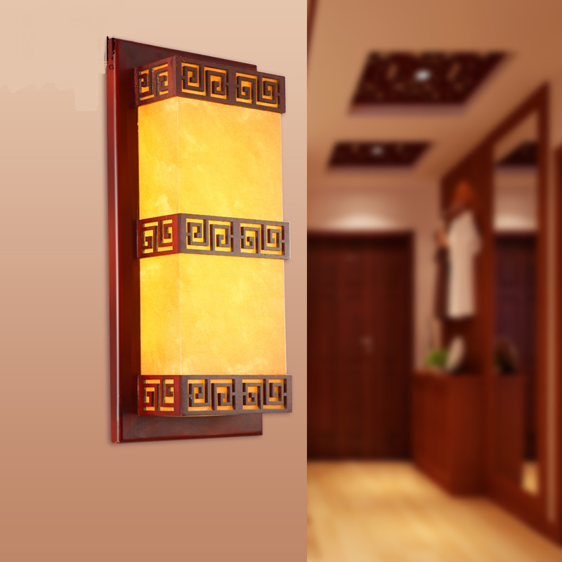 Chinese style Wooden pendant lights stairways Hotel living room bedroom bedside wall lamp Wood carving pendant lamps ZA ZS73 chinese style wooden pendant lights solid wood living room dining room pendant lamp creative bedroom study hallway zs37 lu1017