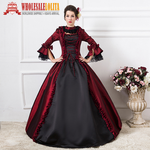 Free Shipping 1800s Victorian Dance Dress Burgundy Gothic Victorian Wedding Ball  Gown  Rococo Style Event Dress aa521234fc3a