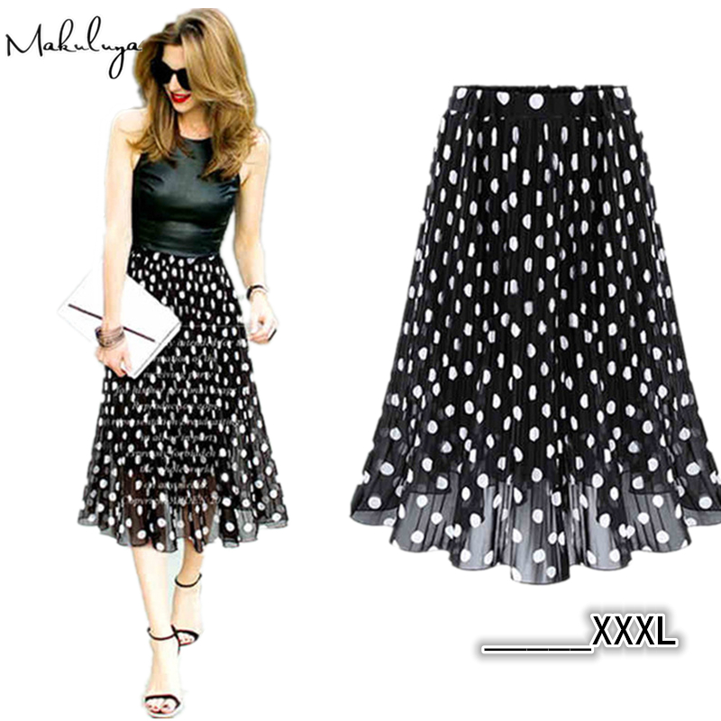 Makuluya Summer Spring Women Chiffon Polka Dot Skirt Female Black dots Elastic Waist Pleated Skirt Beach A-Line Plus SizeBK
