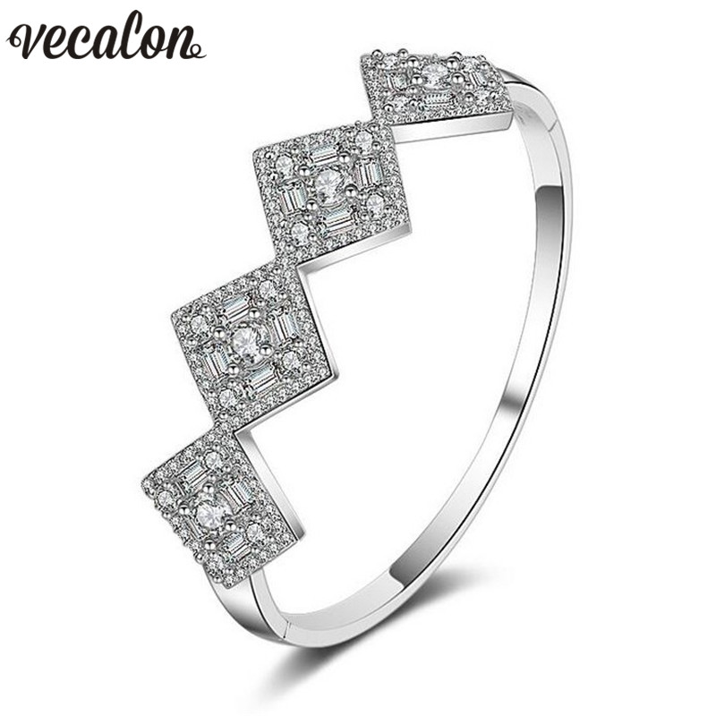 Vecalon Bling Fashion 5A cubic zirconia Engagement bracelet White Gold Filled cuff bangle womens Wedding accessaries Jewelry