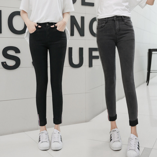 2018 Women Jeans Spring Autumn Elastic Waist Trousers Ladies Vintage Pencil Slim Skinny Jeans Black Gray Casual Soft Lady Pants