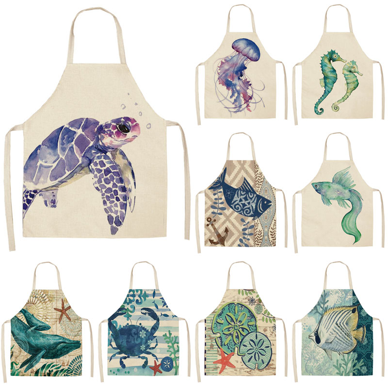 Marine Animals Printed Kitchen Aprons For Women Kids Sleeveless Cotton Linen Bibs Cooking Baking Cleaning Tools 53*65cm GT1299
