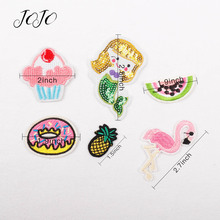 JOJO BOWS 10pcs Cloth Sequin Patches Mermaid Flamingo Fruit Ice Cream Pattern Shoe Apparel Bag Sewing Embroidery Bows Decoration