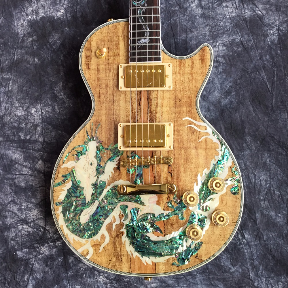 Leader Sales High Quality Wholesale Dragon Pattern Top Custom Electric Guitar & Guitar for Free Shipping musiclily 3ply pvc outline pickguard for fenderstrat st guitar custom