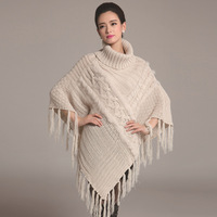 Spring Autumn Batwing Sleeve Genuine Rabbit Fur Pullover Wool Sweater Cable Knitted Loose Shawl Cape Poncho