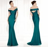 Navy Green Portrait Short Sleeve Sweep Train Taffeta Mermaid Evening Dresses Elegant Backless Off the shoulder Mother Dresses