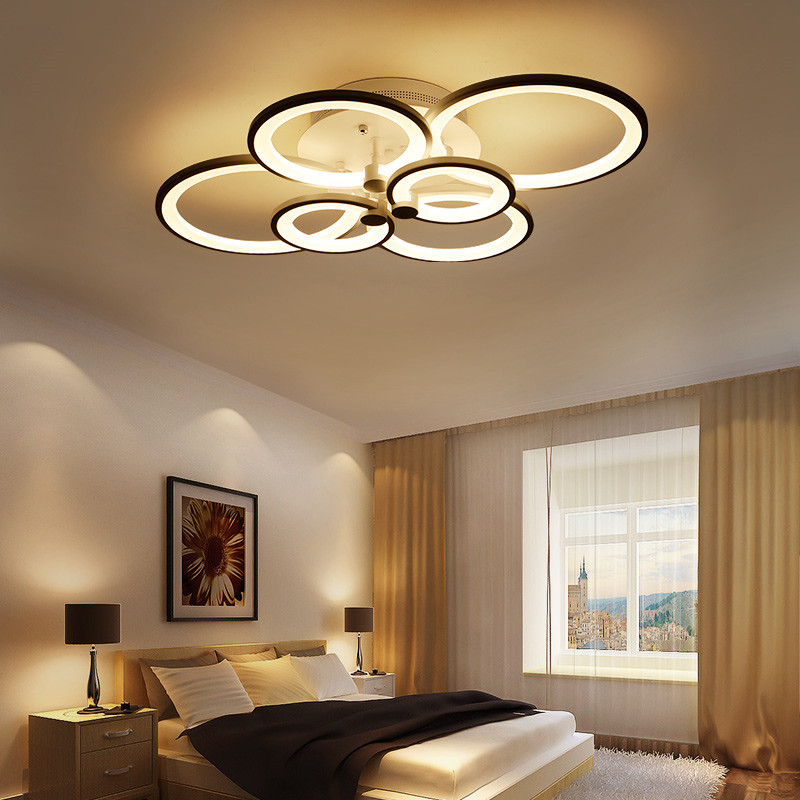 Round White Farmhouse Kitchen Led Ring Ceiling Light Lamp Dimmable With Remote Control For Bedroom Kids Dining Bed Room Lighting