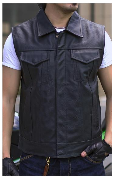 943f4a34485c9 Mens Black Genuine Leather Motorcycle Vest Thick Cow Leather Waistcaot Full  Real Leather Sleeveless Biker Jackets