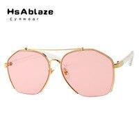 HsAblaze Gafas de Sol Mujeres Medio Capítulo Transparente Colorido Polígono Lente Transparente Gafas de Sol Hombres Diseñador de la Marca Sun glass
