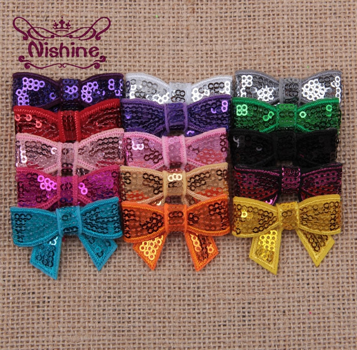 Nishine 30pcs/lot New 4cm Mini Glitter Sequin Bows DIY Hair Ribbon For Sewing Craft Headwear Hair Accessories(Color:15 Colors)