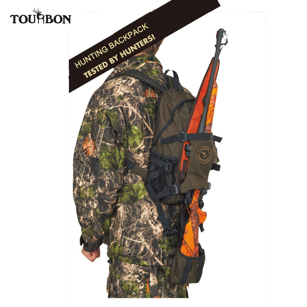 Tourbon Tactical Hunting Backpack Gun Case Outdoor Men Nylon Bag w Large Capacity Travel Hiking Climbing
