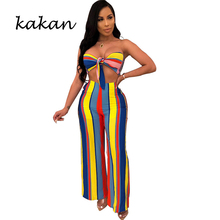 Kakan summer new hot sexy womens jumpsuit two-piece print striped wide leg suit color bow backless