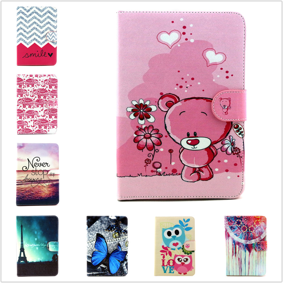NEW Fashion Pink Bear Smart Stand PU Leather case For apple Ipad Mini 1/2/3 mini1 2 3 Lovely elephant Holder Cover Free Shipping