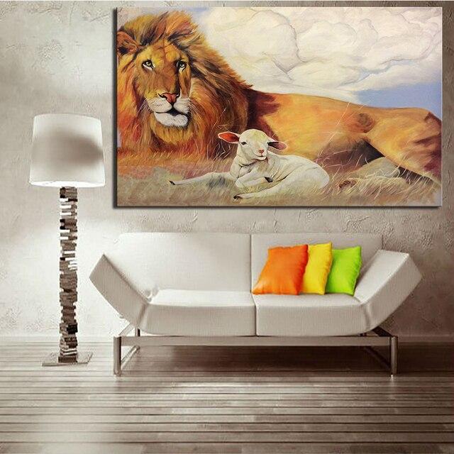 Dpartisan León con cordero creativo impresión de la pintura de pared ...