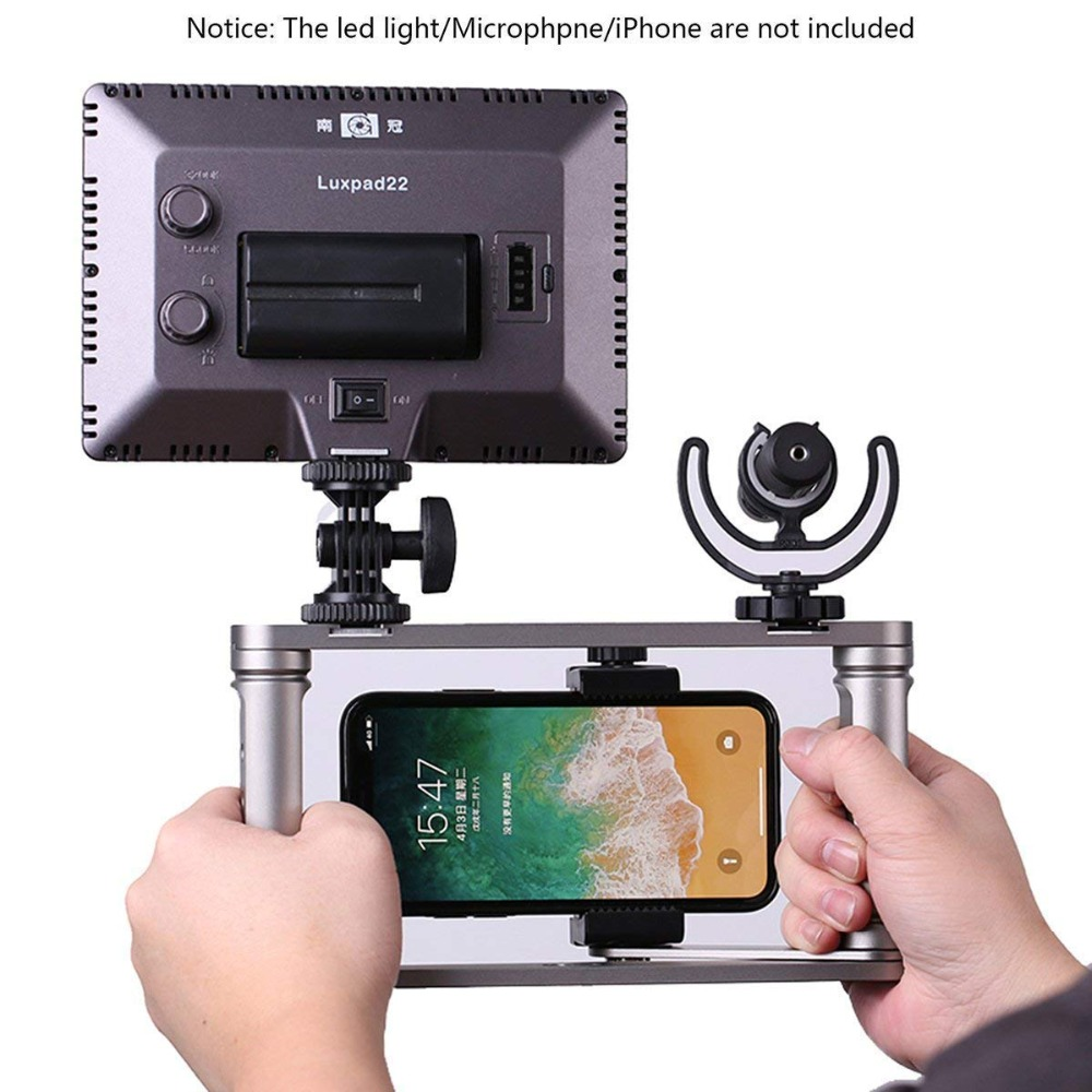 Smartphone vidéo plate-forme caméra portable vidéo Microphone stabilisateur poignée trépied lumière LED pour iPhone Max X 8 7 Samsung Xiaom GoPro