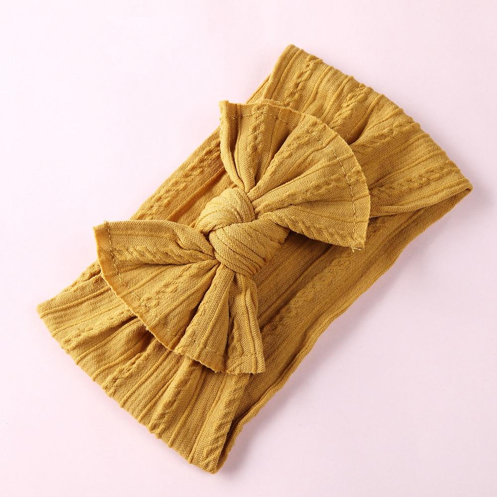 Knot Bow Nylon Headbands, Cable Knit Nylon Head Wraps, Pompom Trim Wide Nylon Turban Headband Baby Girls Hair Accessories