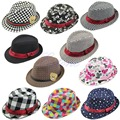 9 Style Kid Boy Girl Fashion Flat Top Fedora Cap Sun Hat Blues Jazz Dance-JZ122