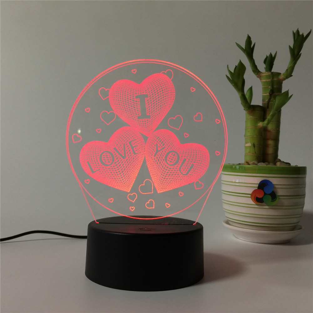 Atmosphere Sleep Light Touch Colors Changing Novelty Gift Love Heart Couples 3D Lamp Night Light For Chilren LED Illusion Usb
