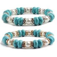 Moda Vintage colgante bohemio Pulseras brazalete Mujer Piedra Natural turquesas azules pulsera de hilo de perlas hombres joyería Pulseras Mujer