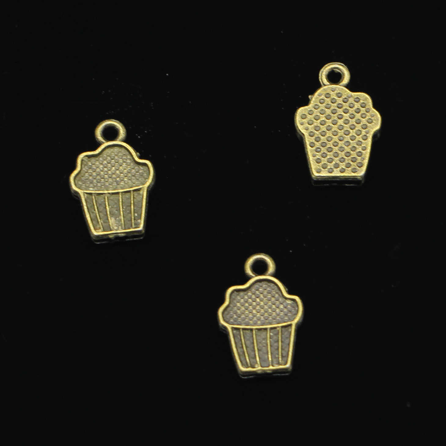 120 pcs Antique Bronze Plated cupcake ice cream Charms for Jewelry Making DIY Handmade Pendants 15*10mm