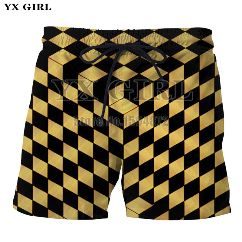 YX Girl 3D Print Plaid Checkers Cube Shorts For Women Men Summer Casual Shorts Mesmerize Board Short With Pockets Drawstring