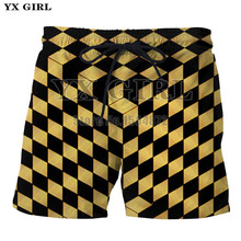 YX Girl 3D Print Plaid Checkers Cube Shorts for Women Men Summer Casual Shorts Mesmerize Board Short With Pockets Drawstring недорого