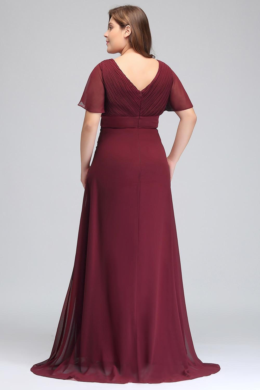 Ship Within 24 Hours Vestido De Festa Chiffon Burgundy Bridesmaid Dress plus size 2019 Women Long Formal Gown bridesmaid dresses