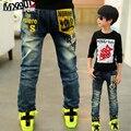Высокое качество весна дети брюки девочек мальчиков джинсы дети письмо джинсы для мальчиков случайные джинсовые брюки 3-12Y малышей одежда