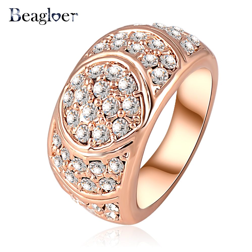 Beagloer New Arrival Engagement Ring Rose Gold Color Women Rings With Genuine Elements Austrian Crystal 24*12mm Ri-HQ0071