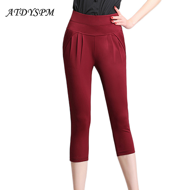 2017 New Fashion Summer Women's Casual Harem Pants Capris Female Elastic High Waist Loose Plus Size Pocket Office Trousers