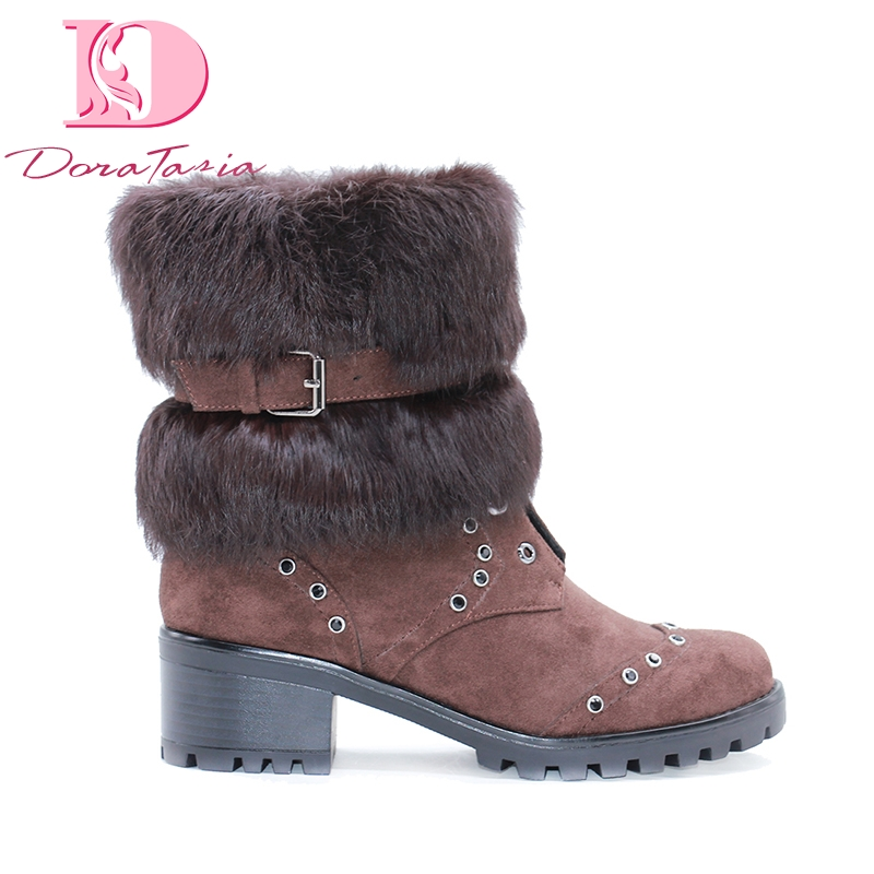 DoraTasia Brand New Plus Size 42 Chunky Heels Snow Boots Shoes Woman Winter Plush Keep Warm Russia Ankle BootsDoraTasia Brand New Plus Size 42 Chunky Heels Snow Boots Shoes Woman Winter Plush Keep Warm Russia Ankle Boots