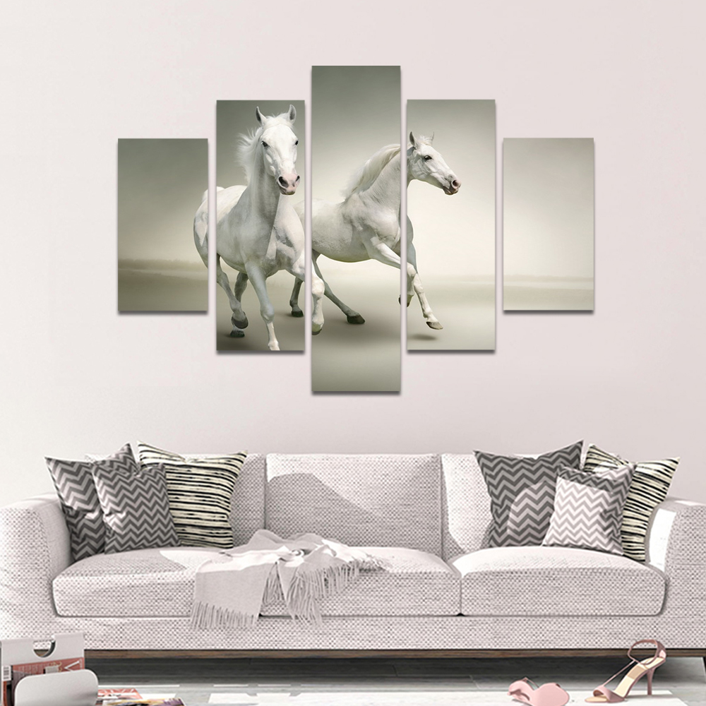 Unframed HD Print 5 Canvas Art Painting White Horse Living Room Decoration Painting Mural Unframed Custom Made
