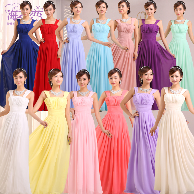 32ef2cdd7e66 Cheap Long Chiffon Purple Bridesmaid Sister Dresses for Wedding Party Light  Green Yellow Pink Red Voilet Royal Blue White M33-in Bridesmaid Dresses  from ...