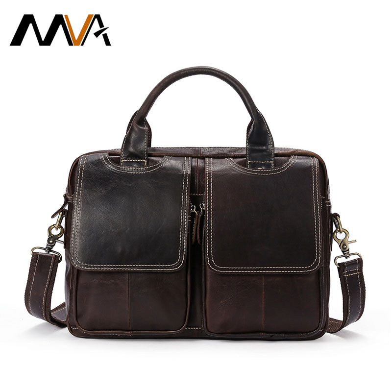 MVA Business Men Bags Genuine Leather Bag Male Leather Laptop Tote Briefcases Men Crossbody Bags Zipper Shoulder Messenger Bags mva business men briefcase handbags leather laptop bag men messenger bags genuine leather men bag male shoulder bags casual tote