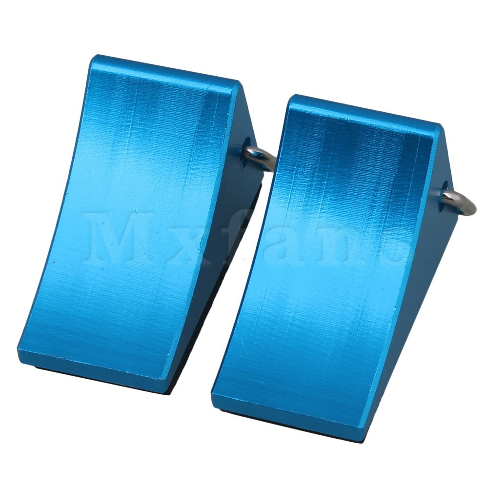 Mxfans 33x17x21MM Blue Aluminum Alloy FZ0010 <font><b>RC</b></font> Tire <font><b>Wheel</b></font> Chock Stop for Buggy Truck <font><b>Rally</b></font> Car Largefoot Car Pack of 2 image