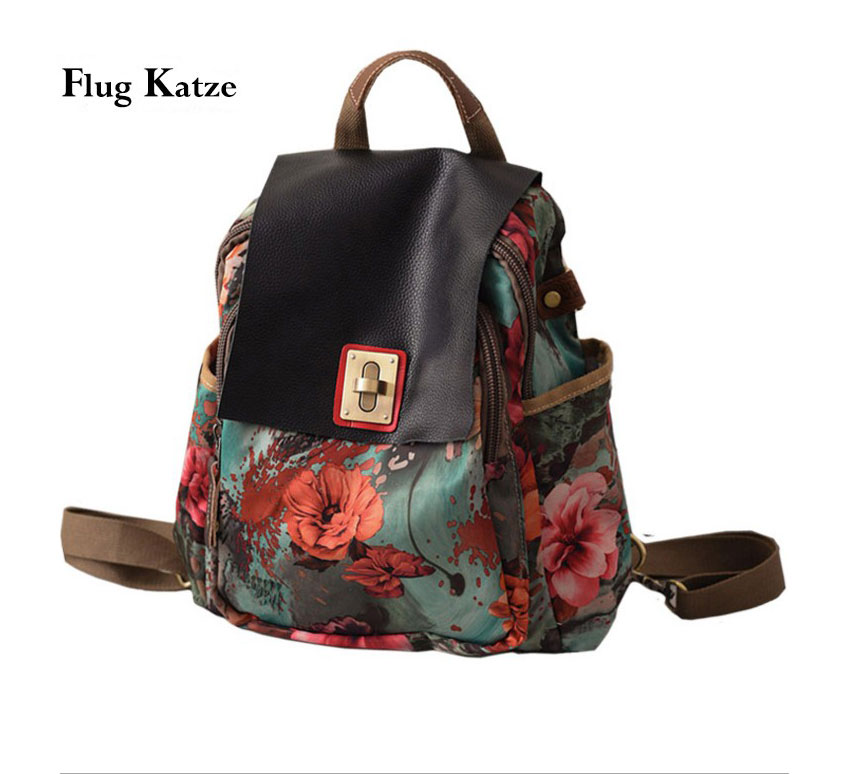 Leather Cover Floral Backpack Fashion Designer  Diamond  Bags For Women Retro Female Small Cut Grils Backpacks